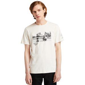T-Shirt da Uomo con Foto Moto Guzzi X Timberland® in Colore Bianco